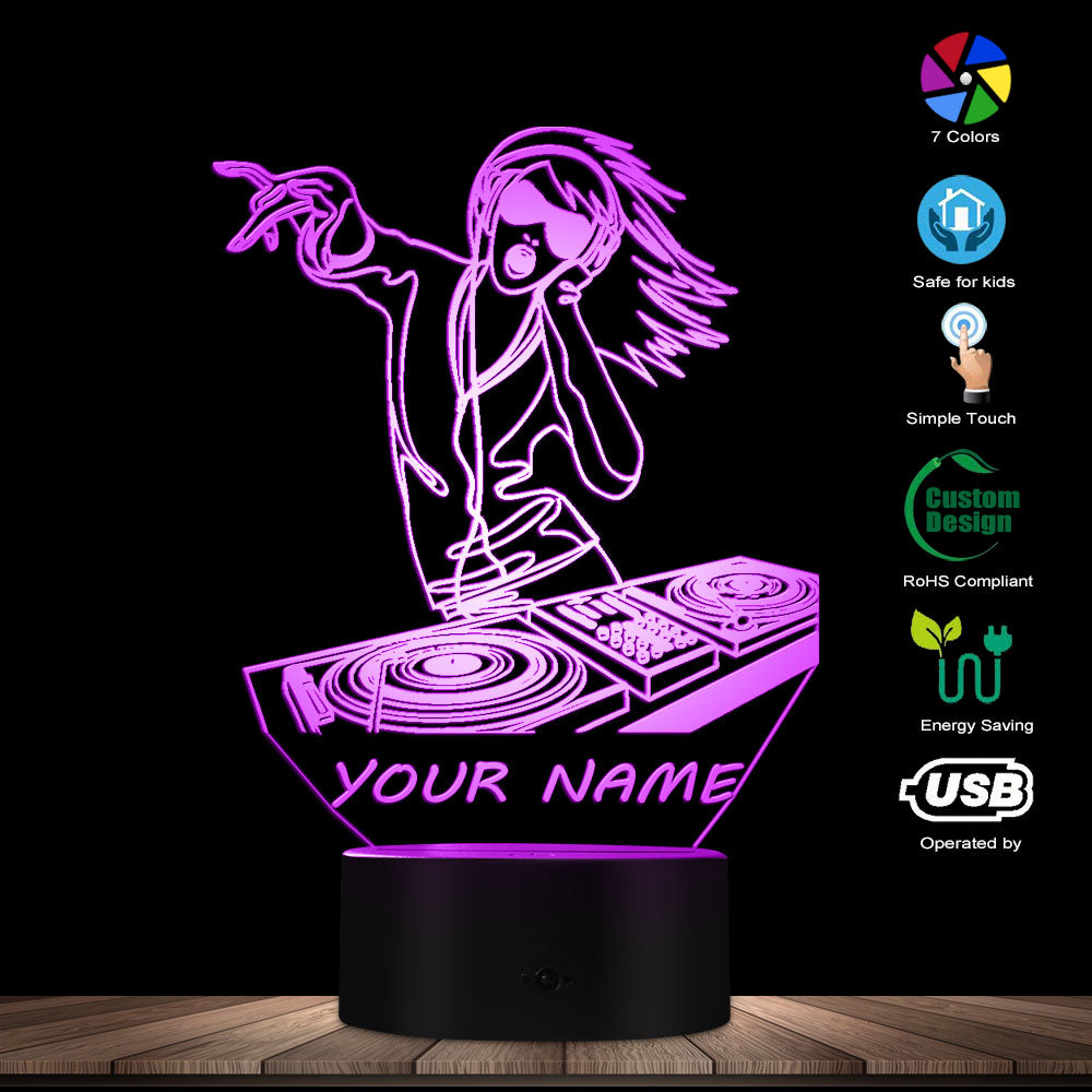 Custom Lady DJ 3D LED Night Light