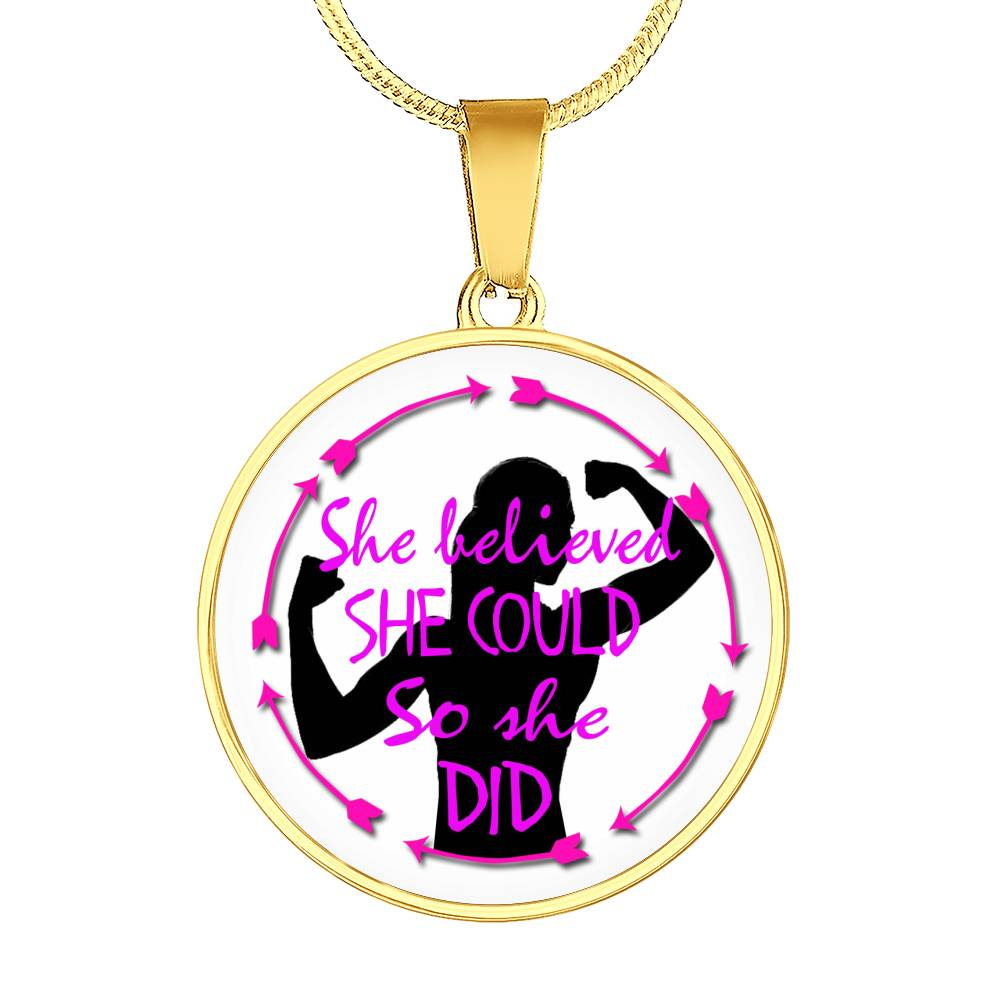 She Believed She Could Circle Pendant