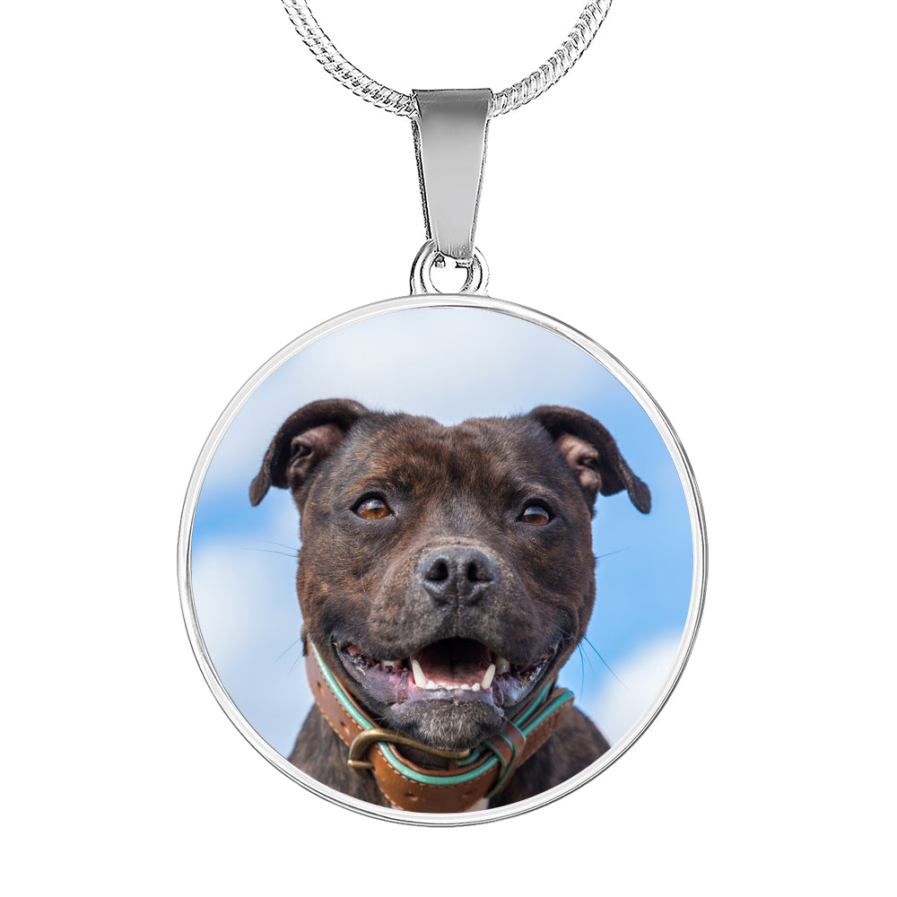 Custom Pit Bull Circle Pendant