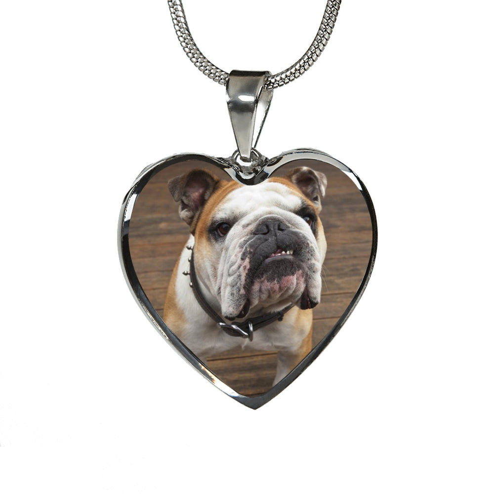 Custom Bulldog Heart Pendant