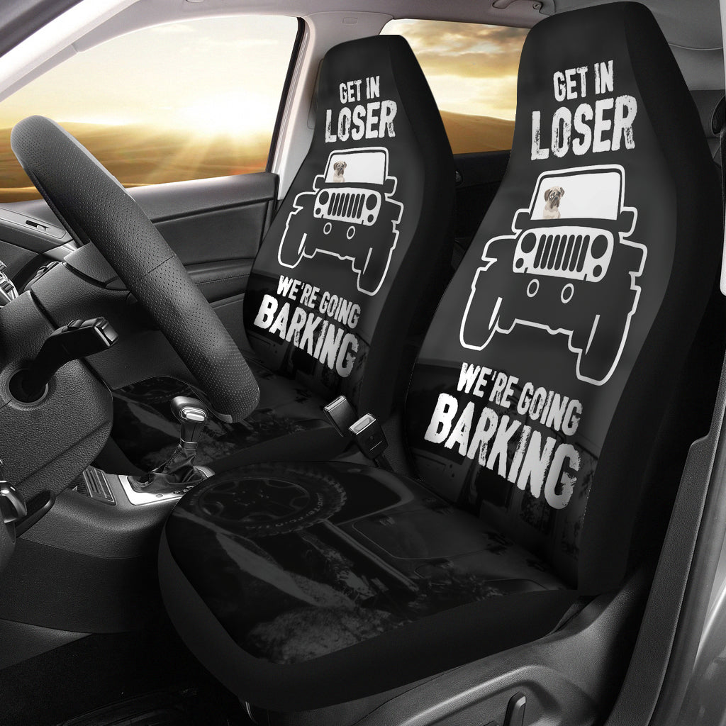 We're Going Barking Pug Car Seat Covers (set of 2)