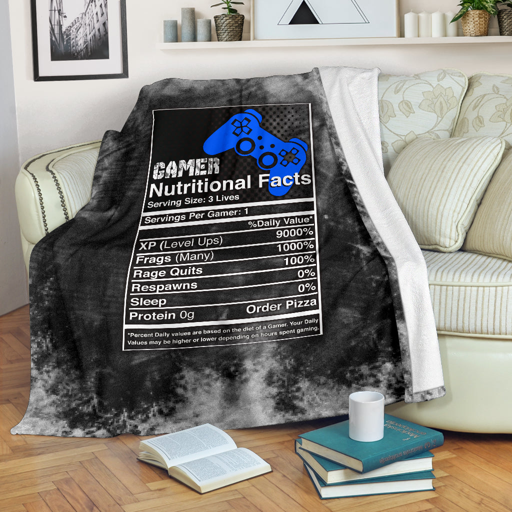 Gamer Nutritional Facts PS Premium Blanket