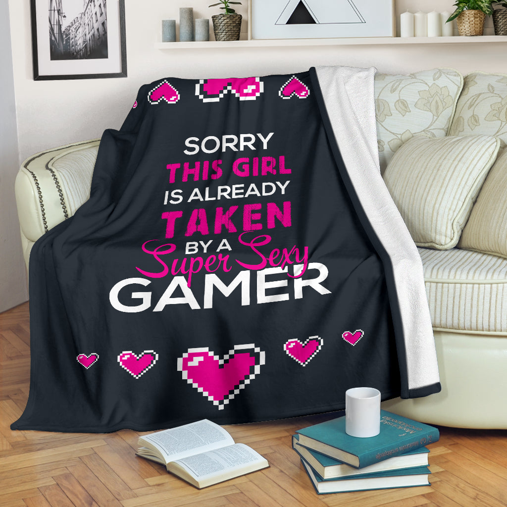 Girl Taken By A Super Sexy Gamer Premium Blanket