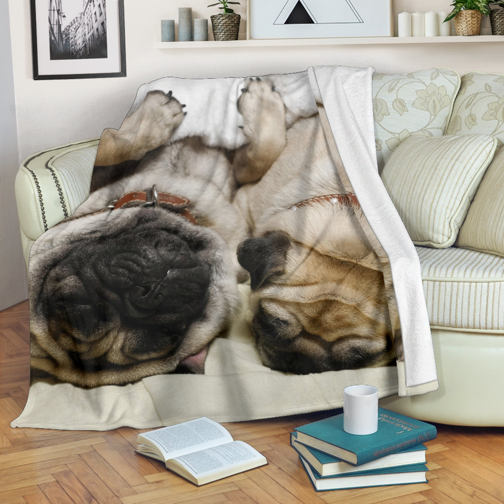 Tired Pug Buddies Premium Blanket - pug bestseller