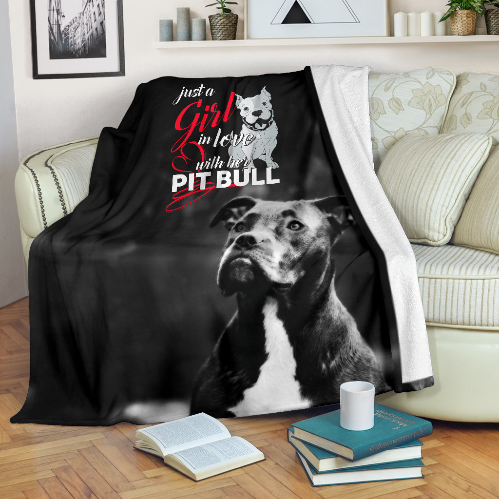 Just A Girl in Love With Her Pit Bull Premium Blanket