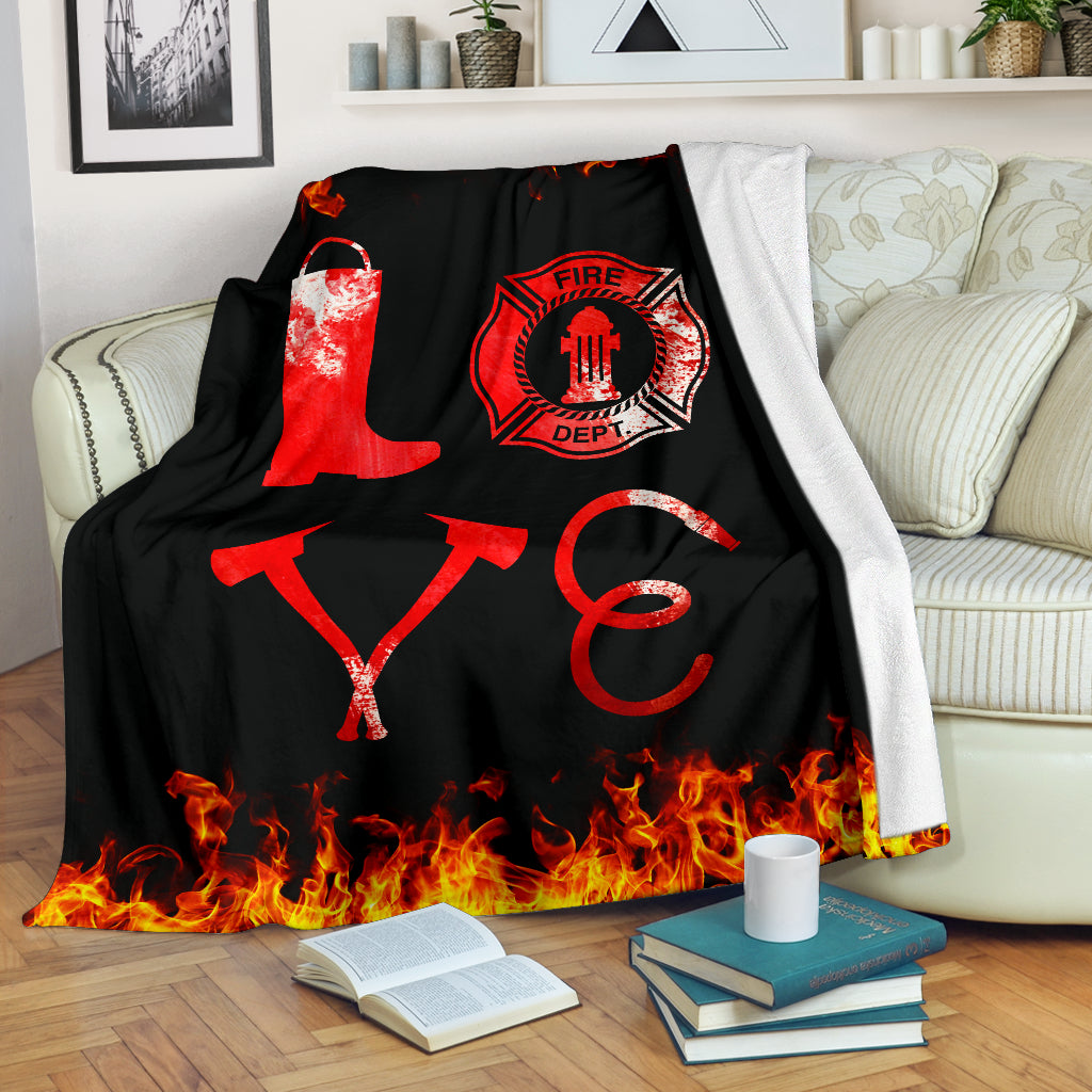 Firefighter Love Premium Blanket