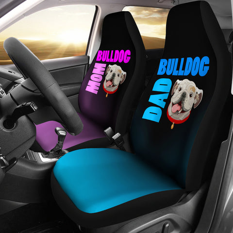 Bulldog Mom Dad Car Seat Covers Set Of 2