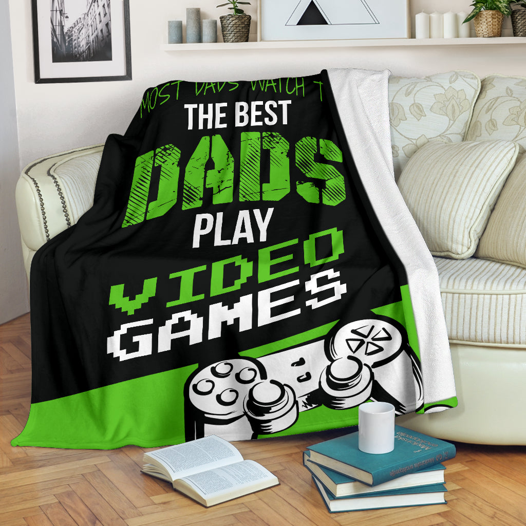 Best Dads Play Video Games Premium Blanket
