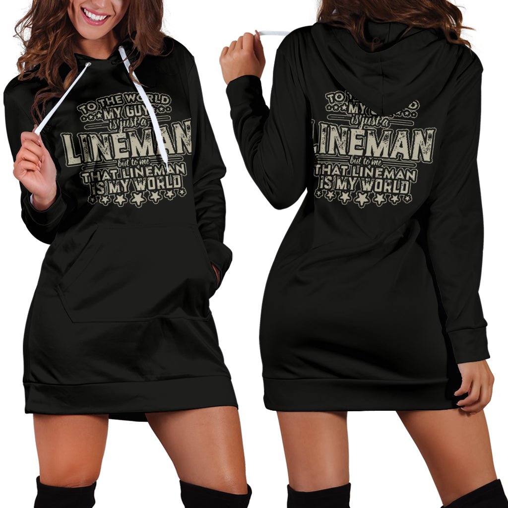 Lineman Is My World Hoodie Dress
