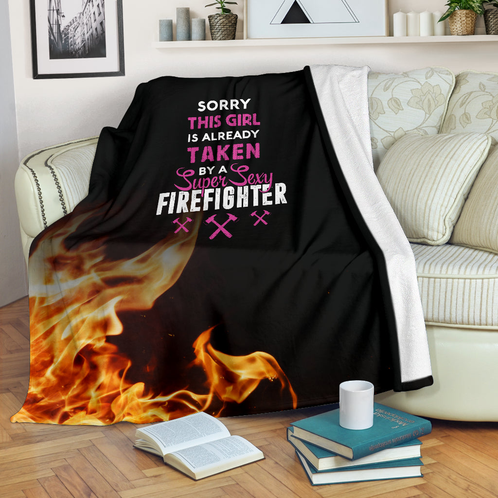 Girl Taken By Sexy Firefighter Premium Blanket