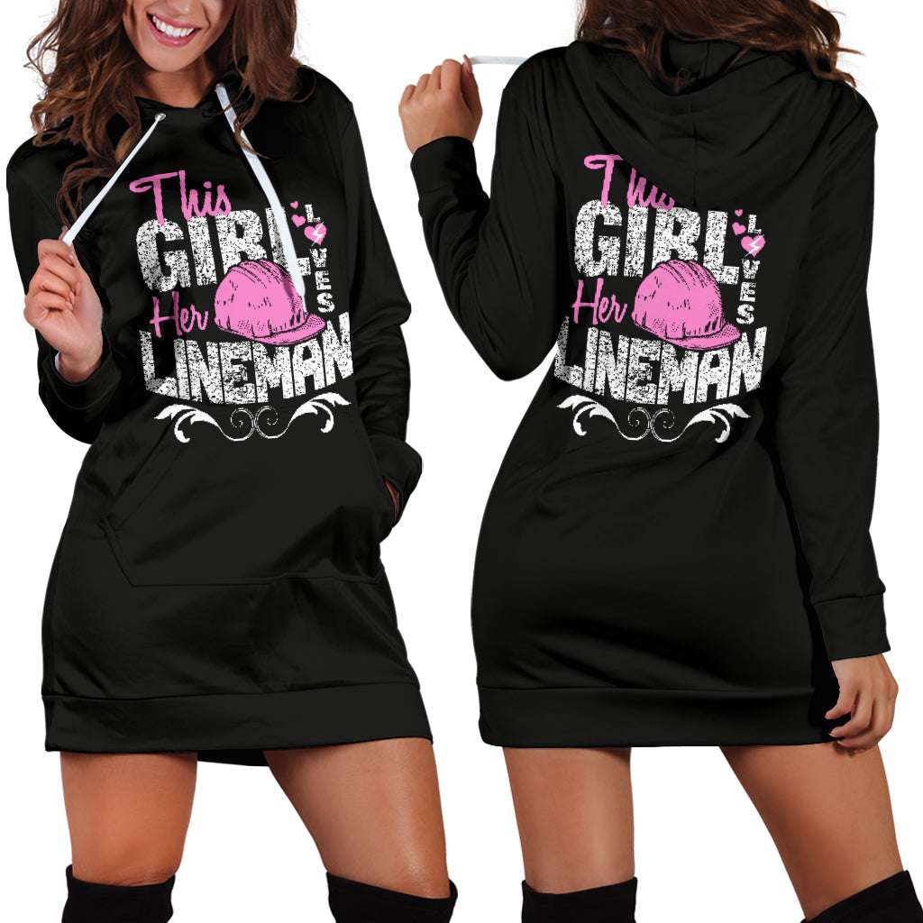This Girl Loves Her Lineman Hoodie Dress