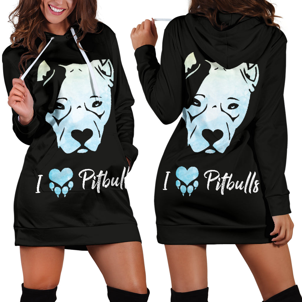 I Love Pitbulls Hoodie Dress