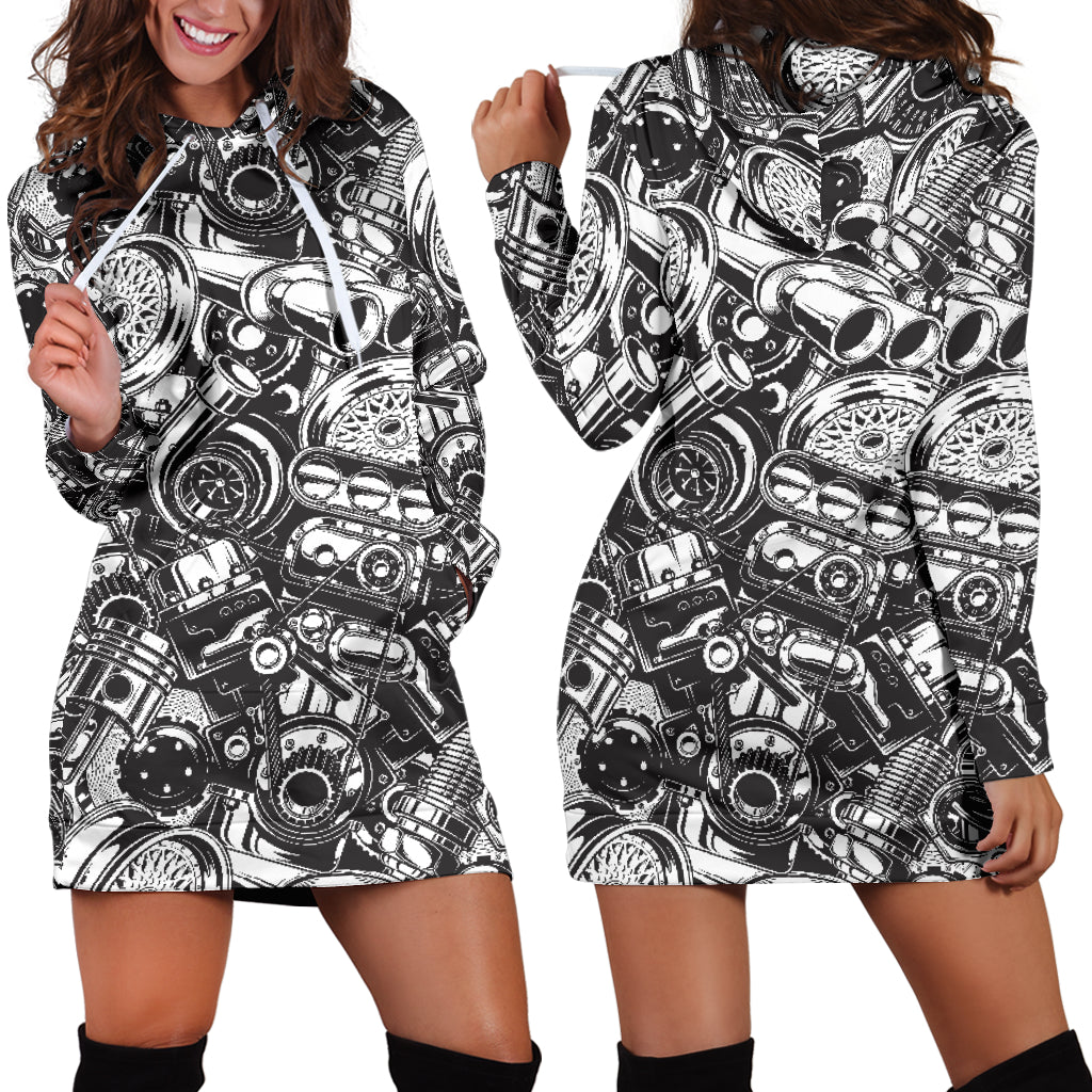 Car Parts Hoodie Dress - mechanic bestseller