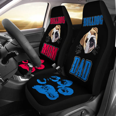Bulldog Mom and Dad Car Seat Covers (set of 2)
