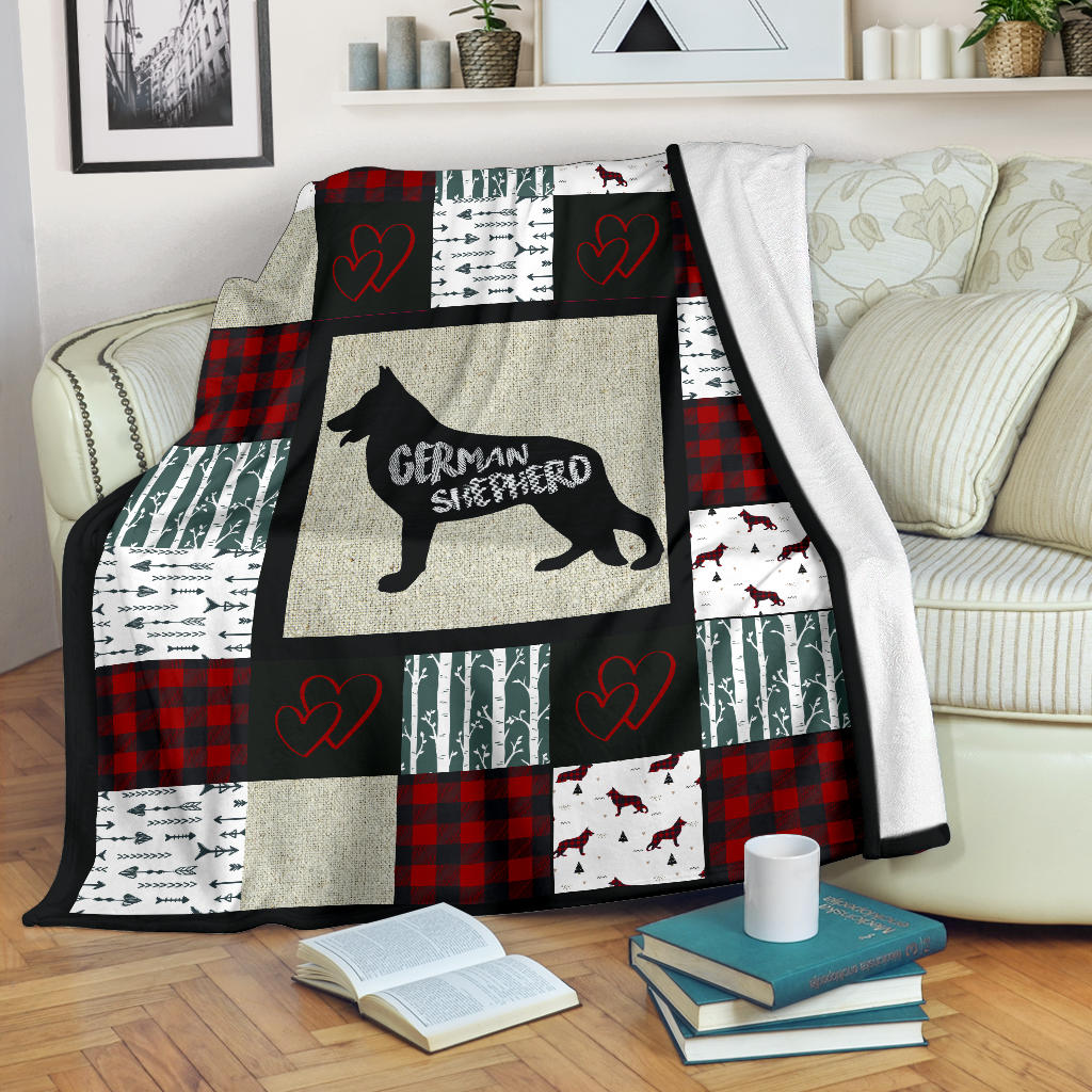 Woodland Patchwork German Shepherd Premium Blanket