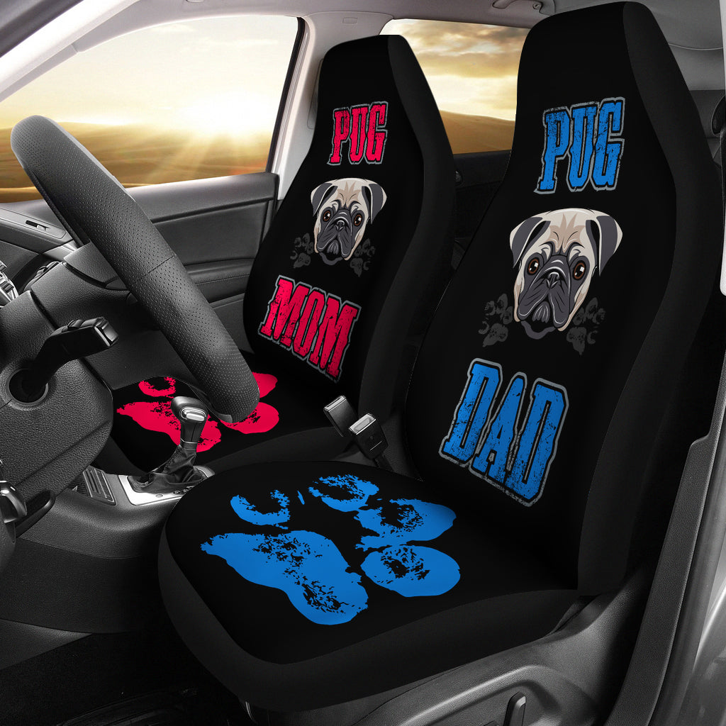 Pug Mom and Dad Car Seat Covers (set of 2)