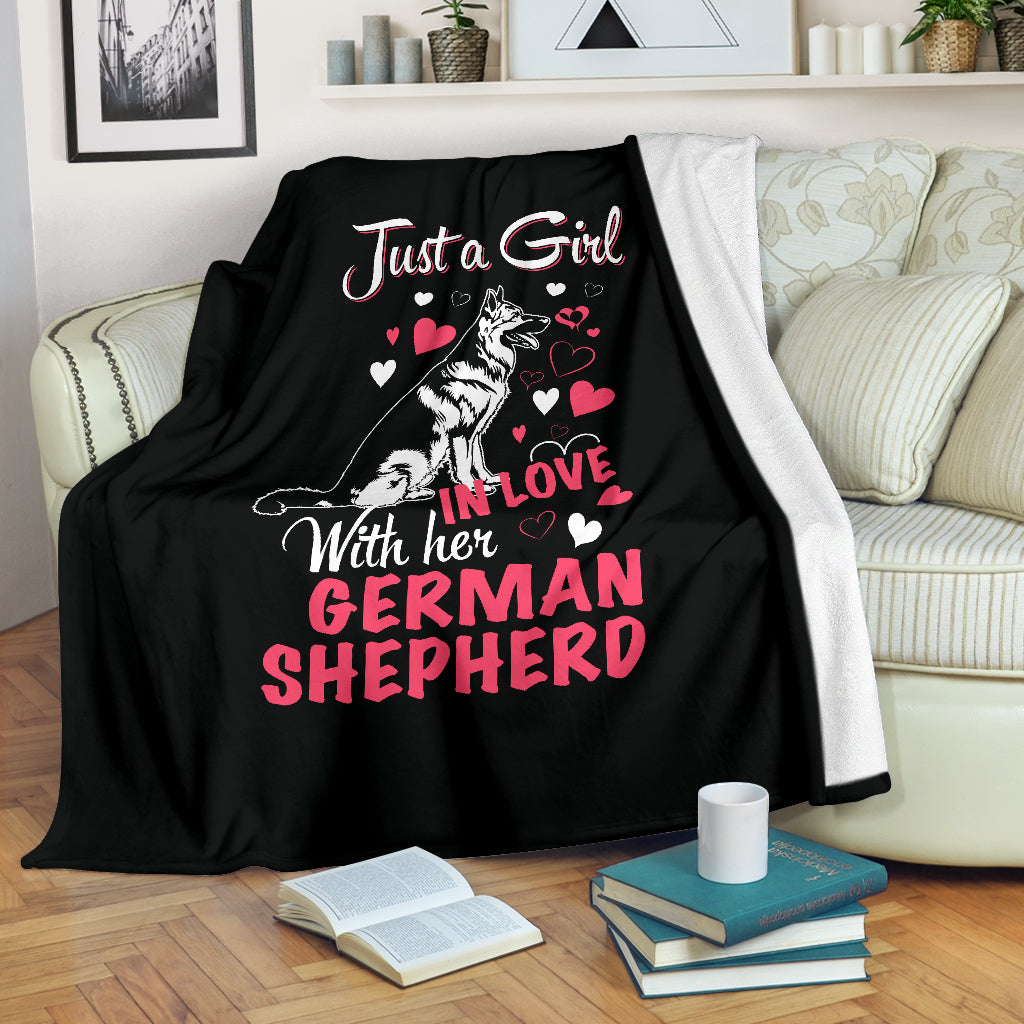 Just A Girl In Love With Her German Shepherd Premium Blanket