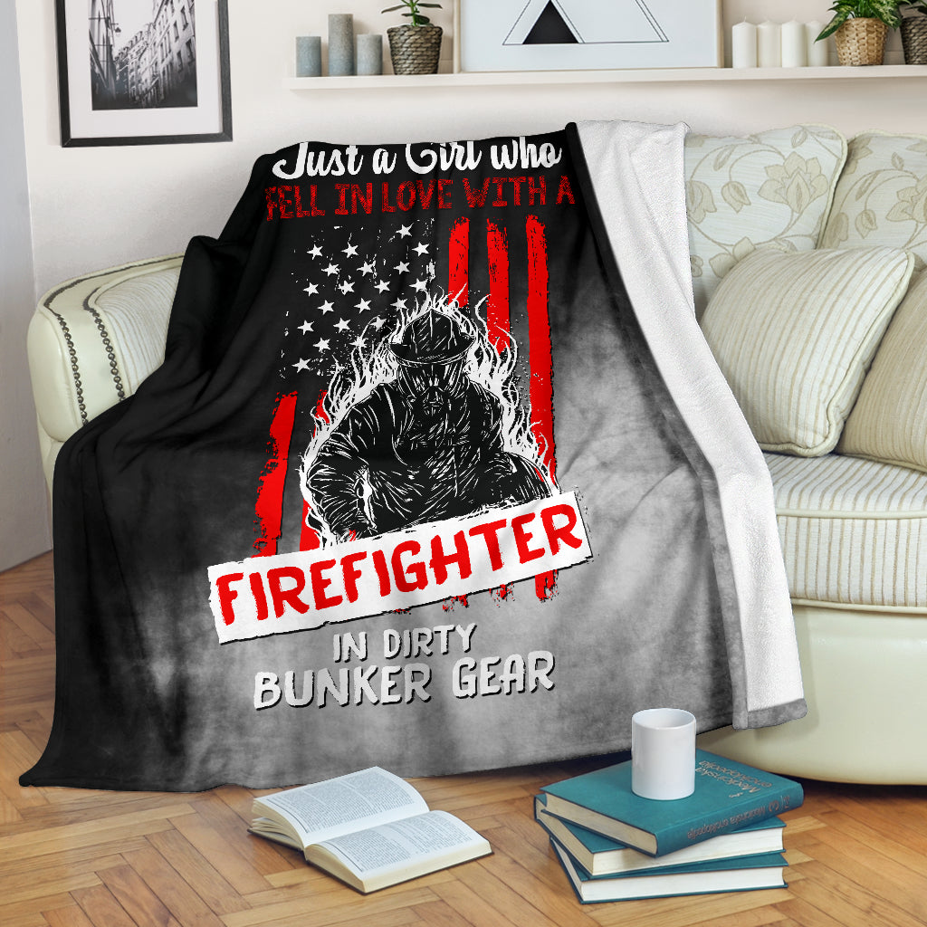 Just A Girl Who Fell In Love With A Firefighter Premium Blanket - firefighter bestseller