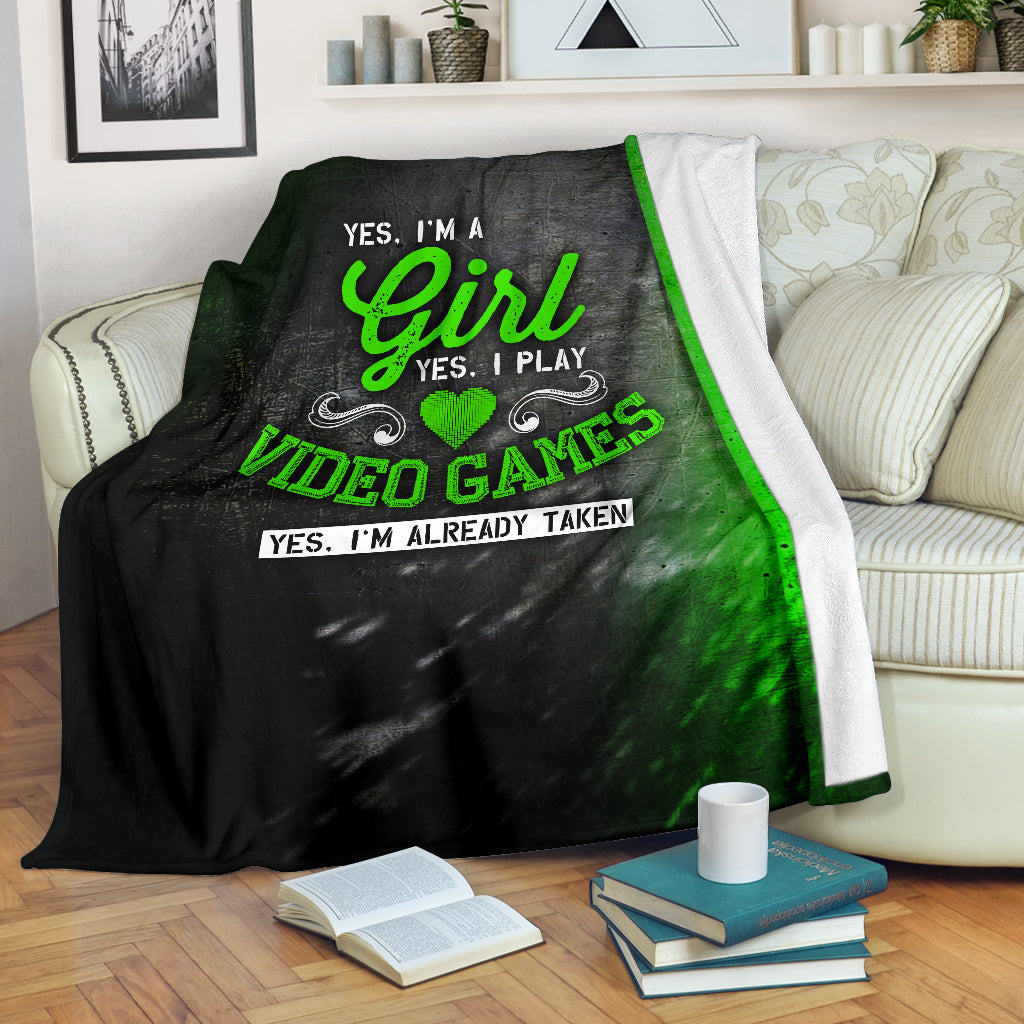 Yes I'm A Girl Yes I Play Video Games Premium Blanket