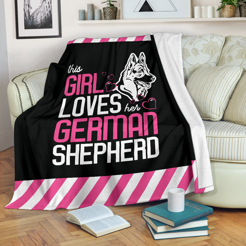 This Girl Loves Her German Shepherd Premium Blanket