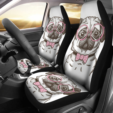 Nerd Pug Car Seat Covers Set Of 2