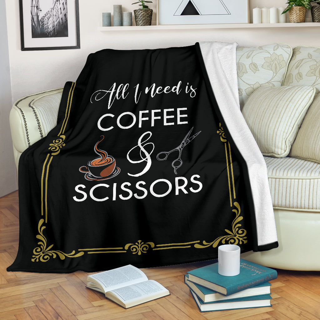 Coffee and Scissors Premium Blanket
