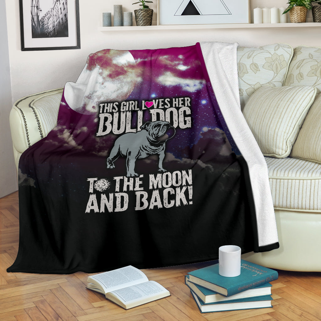 Loves Her Bulldog To The Moon and Back Premium Blanket