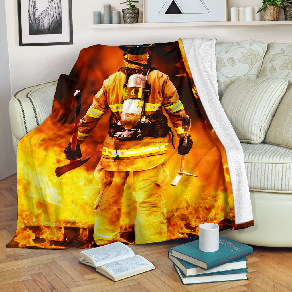 Battling Flames Premium Blanket - firefighter bestseller