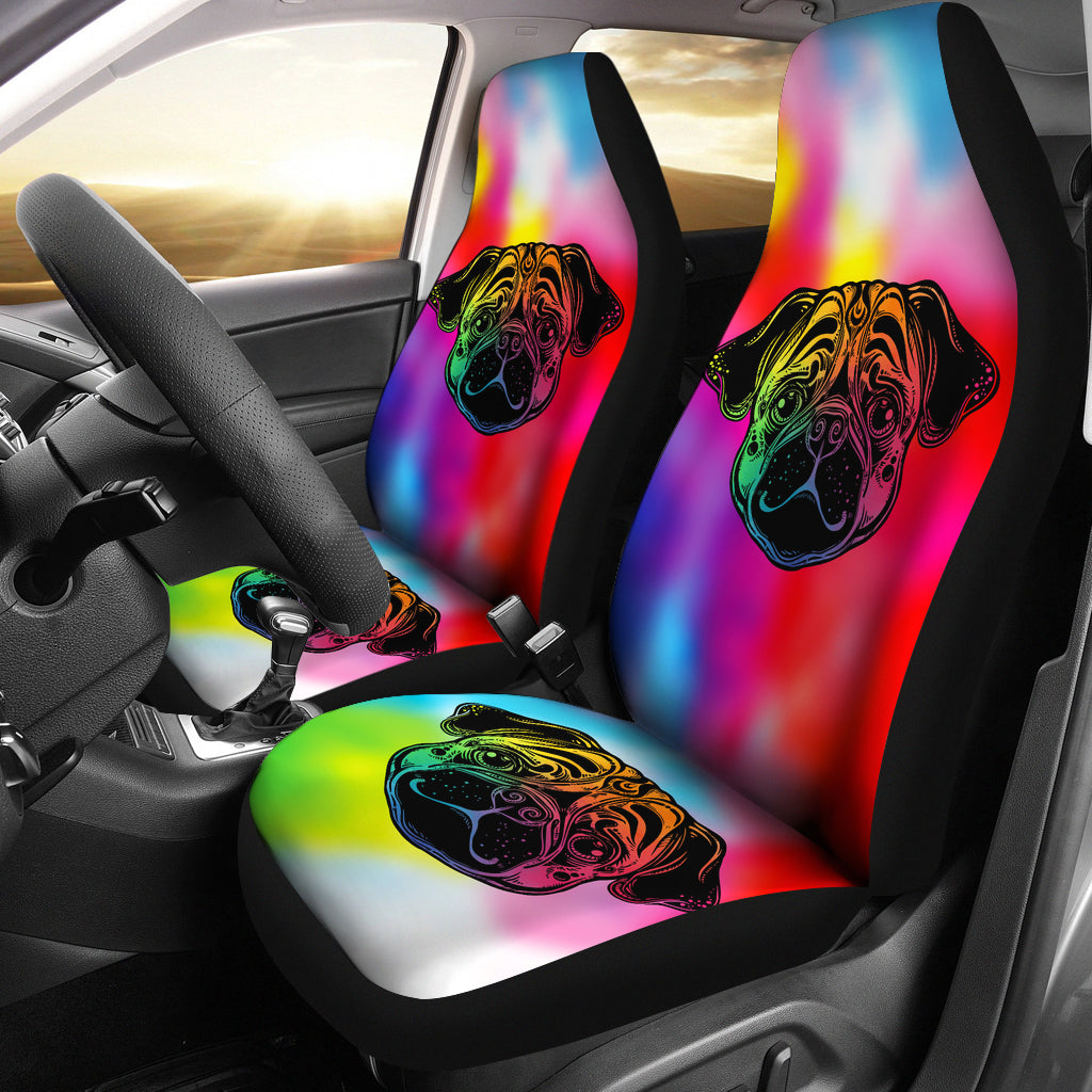Rainbow Pug Car Seat Covers (set of 2)
