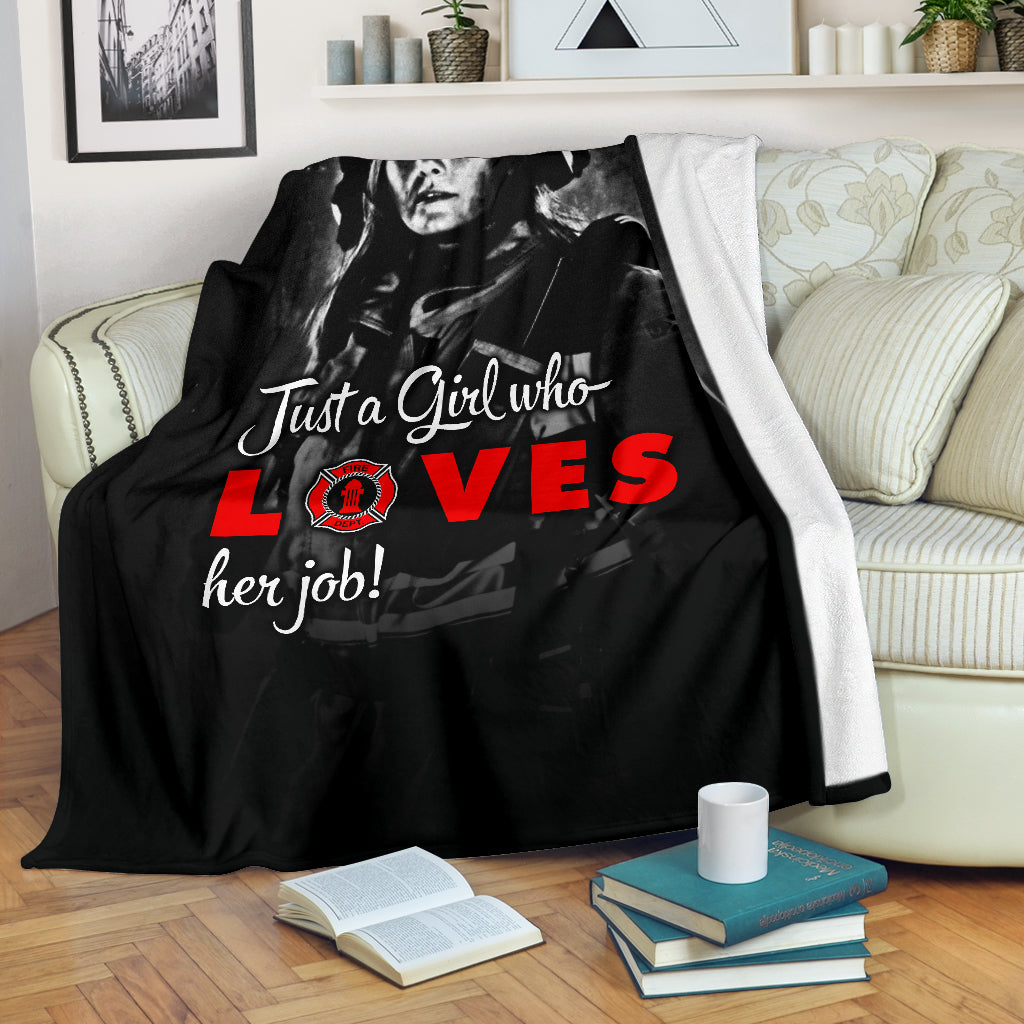 Just A Girl Who Loves Her Job Premium Blanket