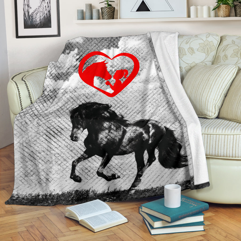 A Girl And Her Horse Premium Blanket