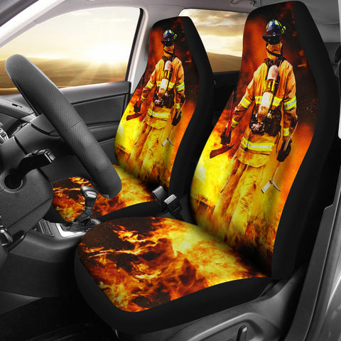 Firefighter In Flames Car Seat Covers (set of 2)