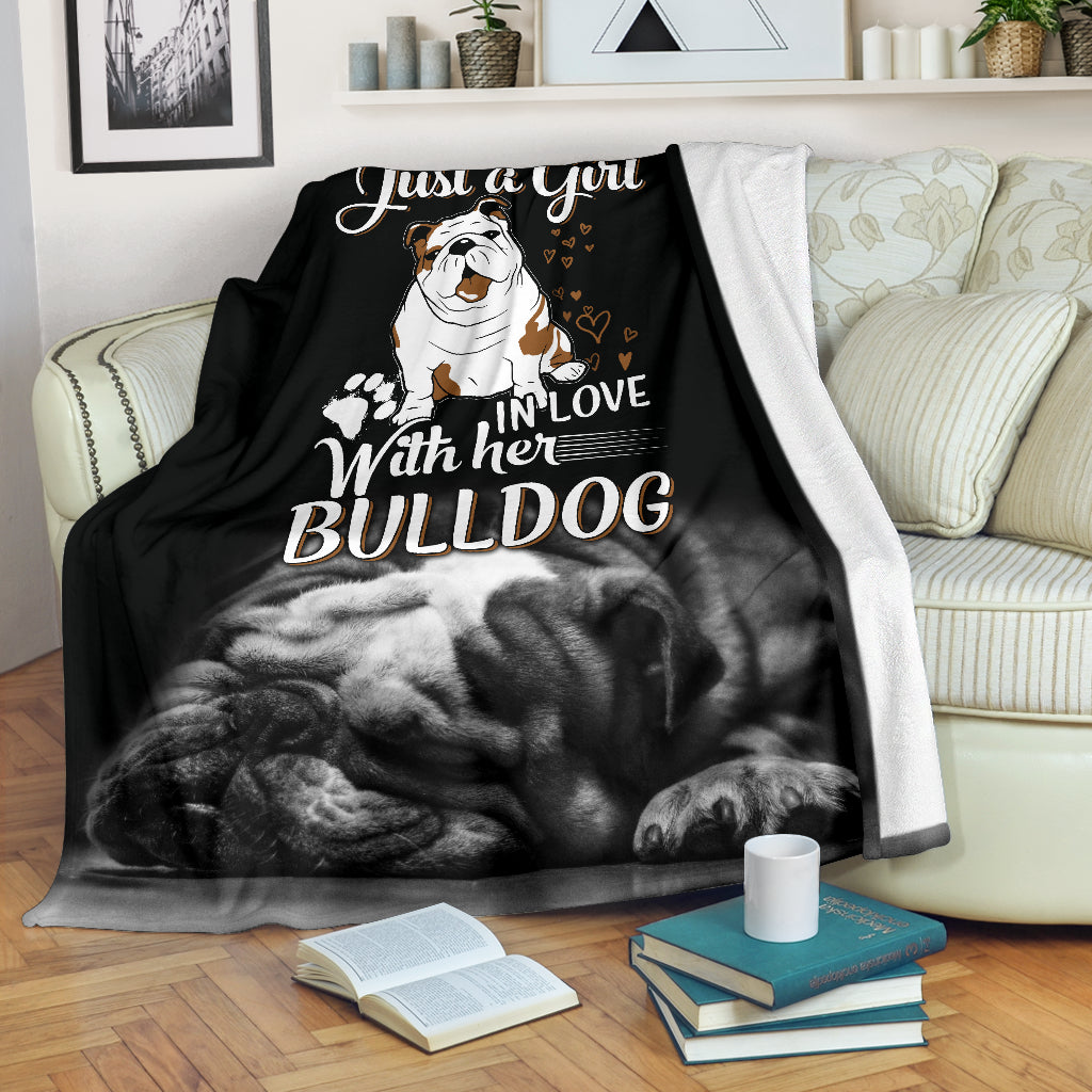 Just A Girl in Love With Her Bulldog Premium Blanket