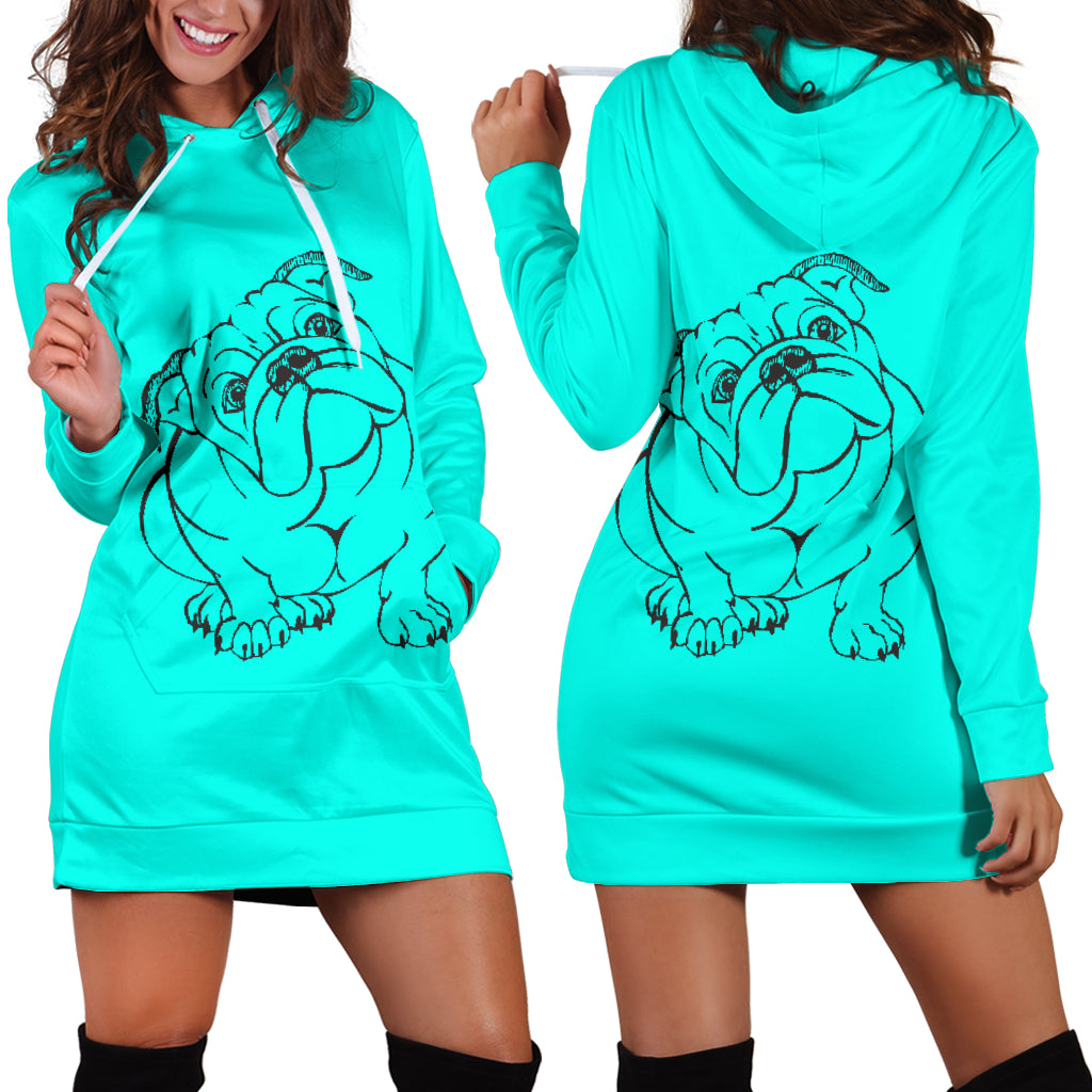 Bull With Attitude Hoodie Dress - bulldog bestseller