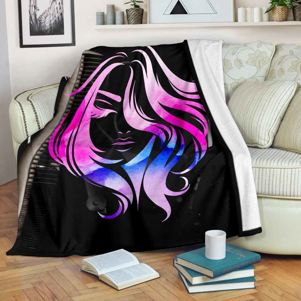 Hair Watercolor Premium Blanket