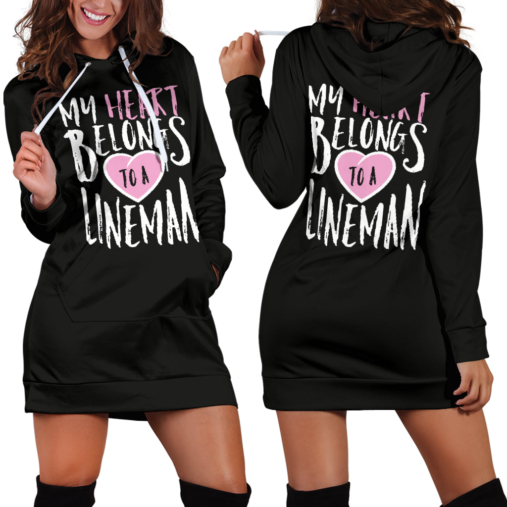 My Heart Belongs To A Lineman Hoodie Dress