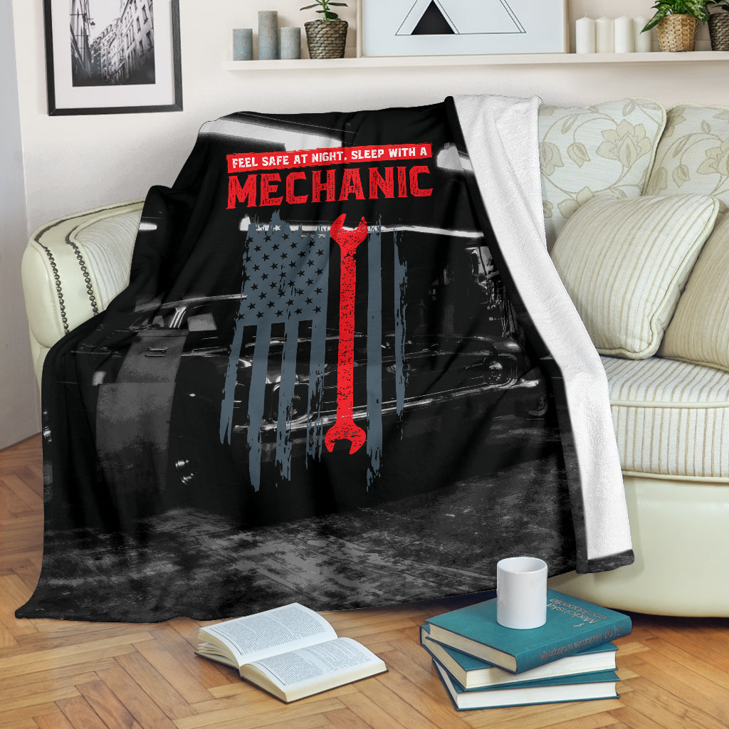 Feel Safe at Night Sleep With A Mechanic Premium Blanket