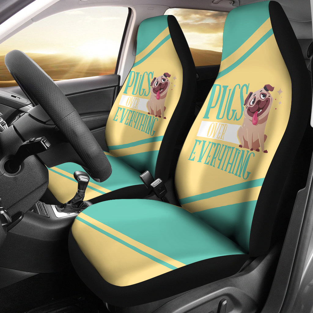Pugs Over Everything Car Seat Covers (set of 2)
