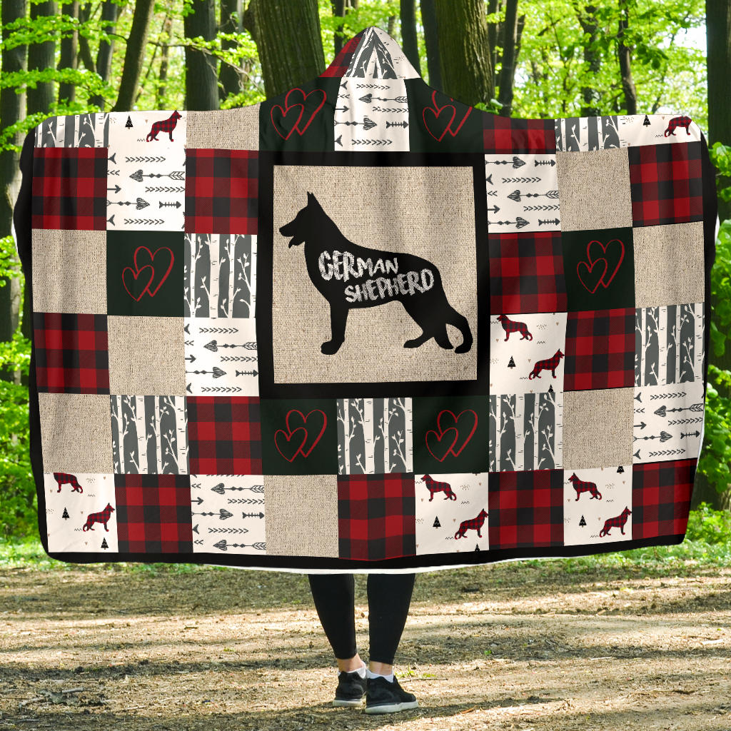 Woodland Patchwork German Shepherd Hooded Blanket