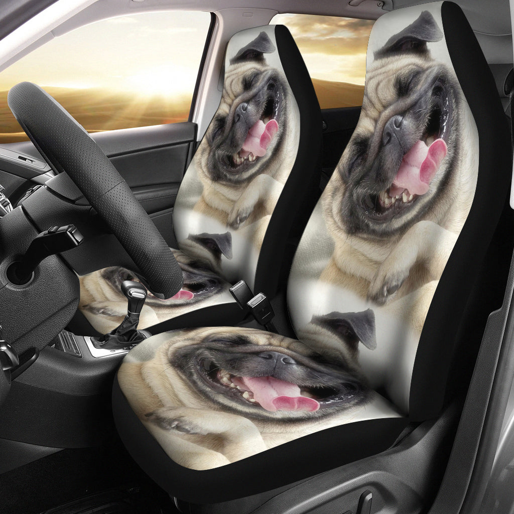 Smiling Pug Car Seat Covers (set of 2)