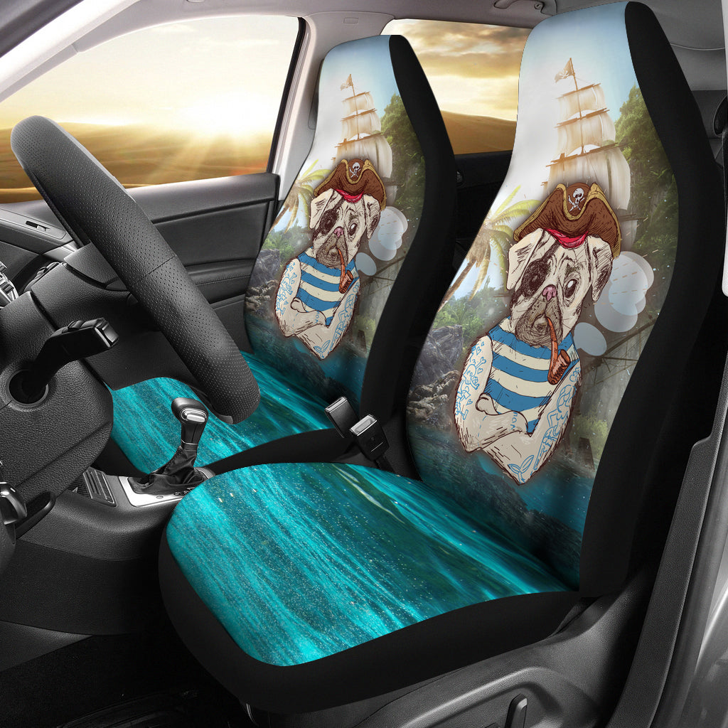 Pirate Pug Car Seat Covers (set of 2)