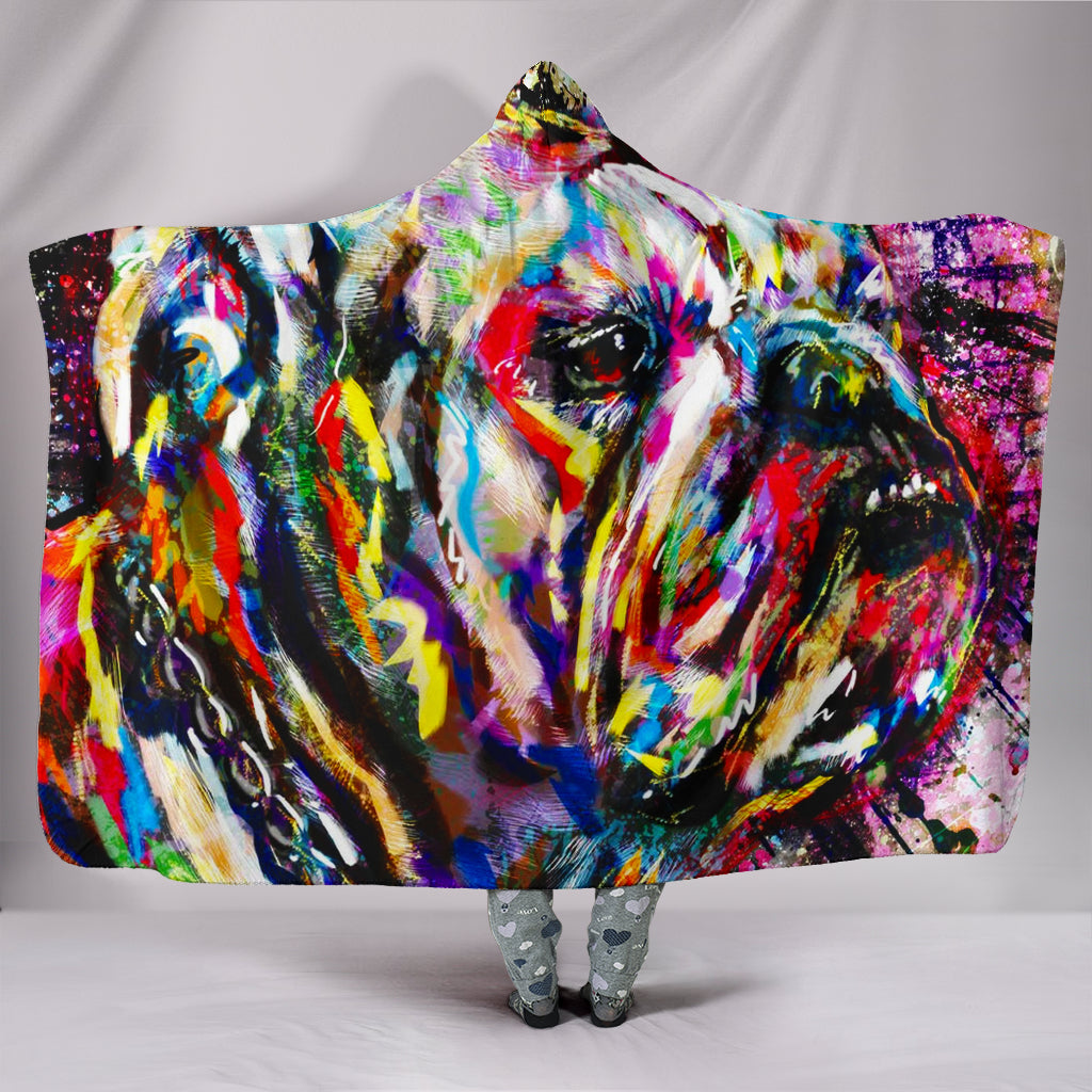 Bulldog Painted Face Hooded Blanket