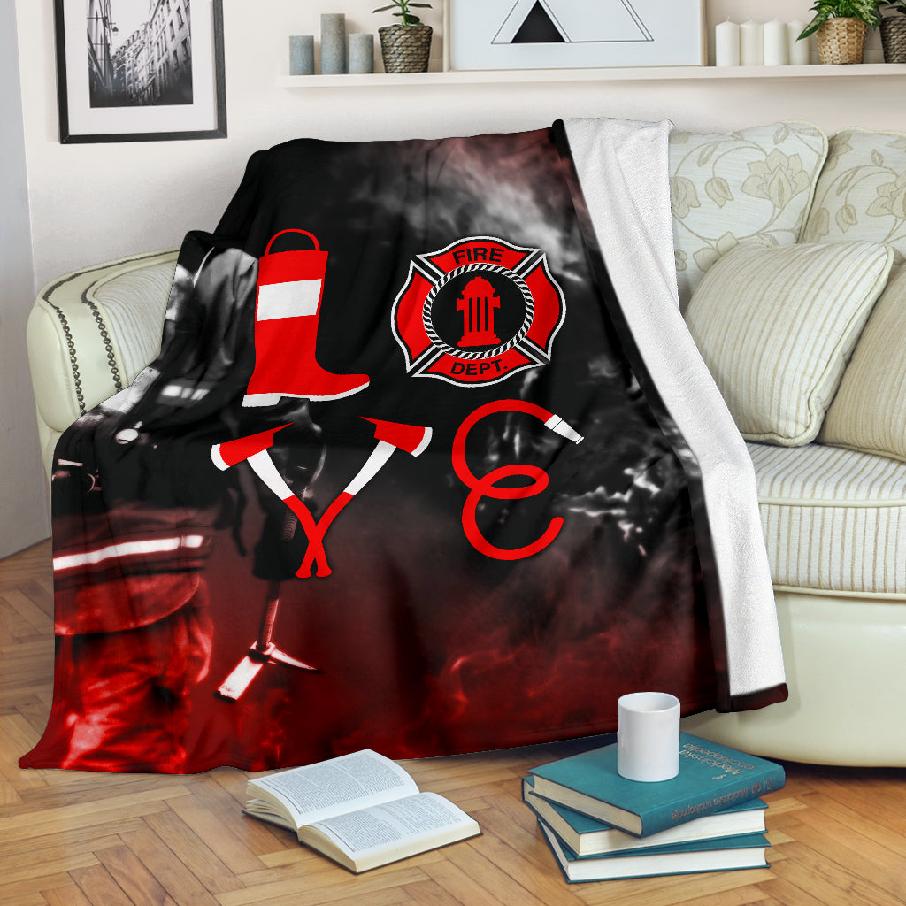 Firefighter Love Premium Blanket - firefighter bestseller