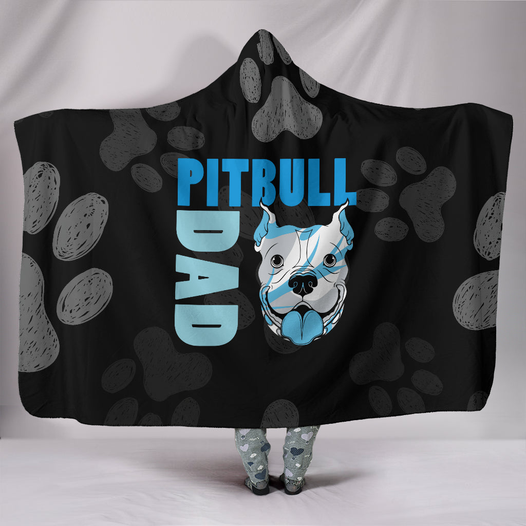 Pitbull Dad Hooded Blanket