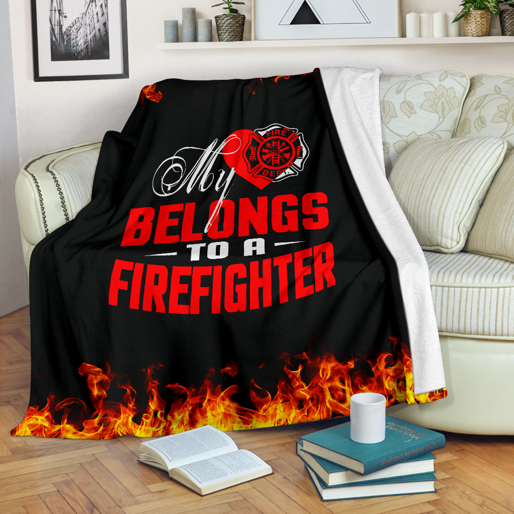 My Heart Belongs To A Firefighter Premium Blanket