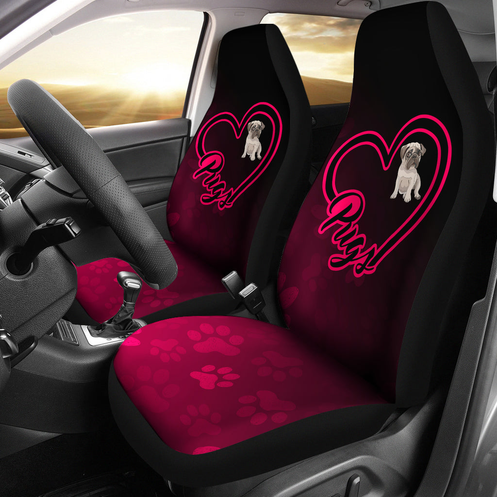 Love Pugs Car Seat Covers (set of 2)