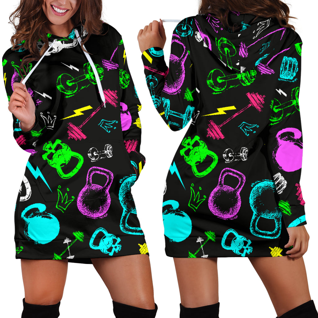 Neon Gym Hoodie Dress