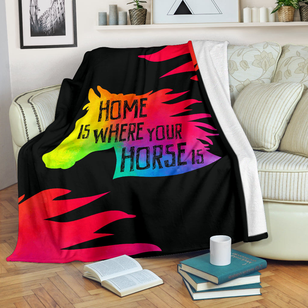 Home Is Where Your Horse Is Premium Blanket