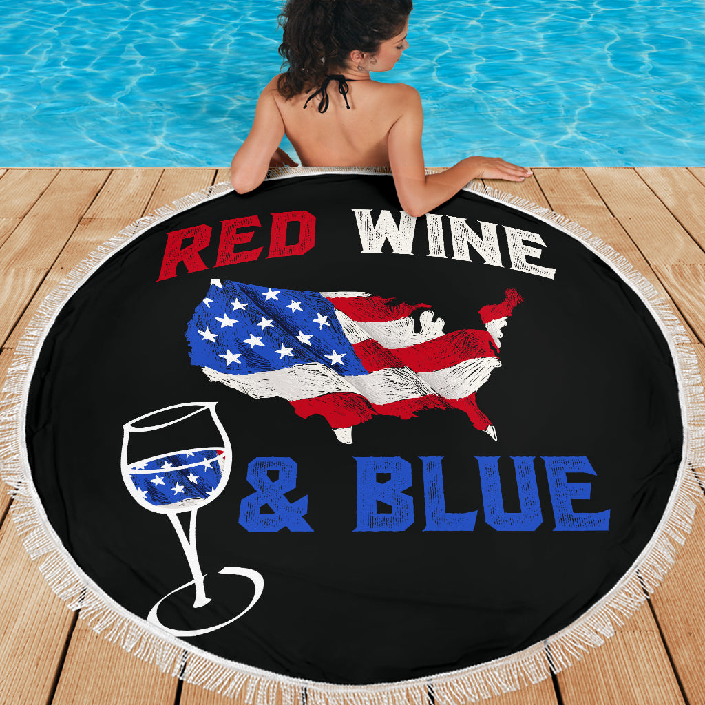 Red Wine and Blue Beach Blanket