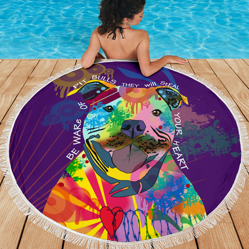 Rainbow Pitbull Beach Blanket